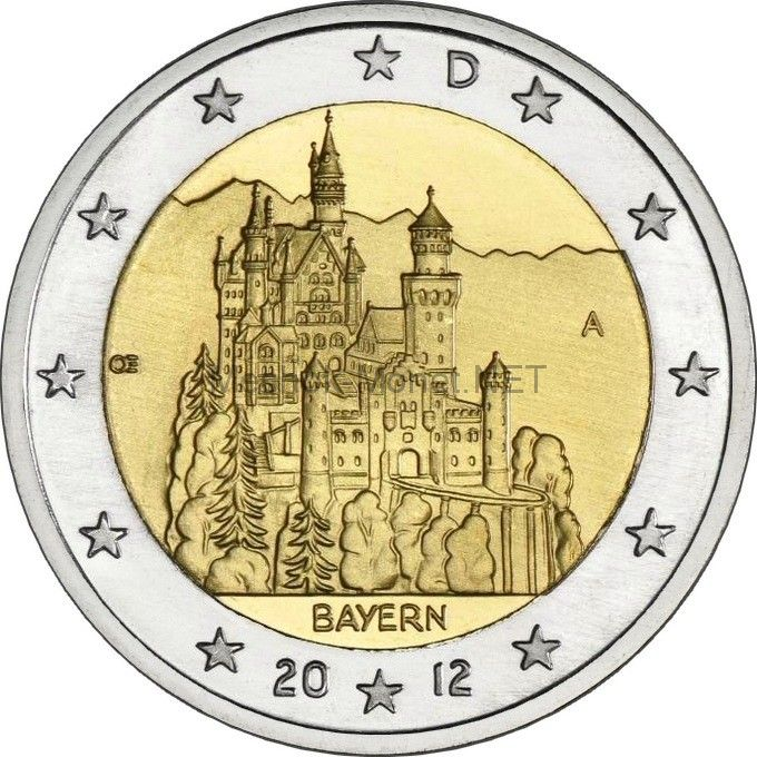 Германия 2 евро 2012, Бавария (Замок Нойшванштайн)