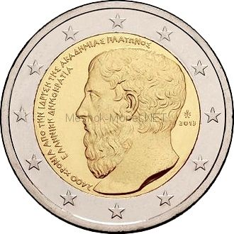 Греция 2 евро 2013 2400 лет с основания Платоновской Академии