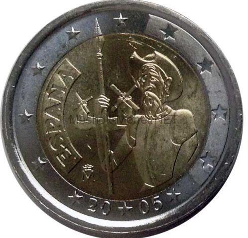 Испания 2 евро 2005, 400-летие первого издания романа «Дон-Кихот» Мигеля Сервантеса