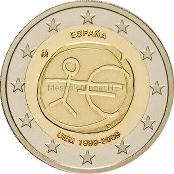 Испания 2 евро 2009 10 лет экономическому и валютному союзу