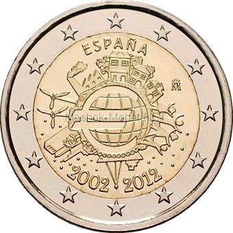 Испания 2 евро 2012, 10 лет наличному обращению евро