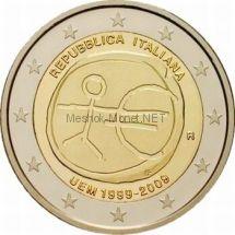 Италия 2 евро 2009 10 лет экономическому и валютному союзу
