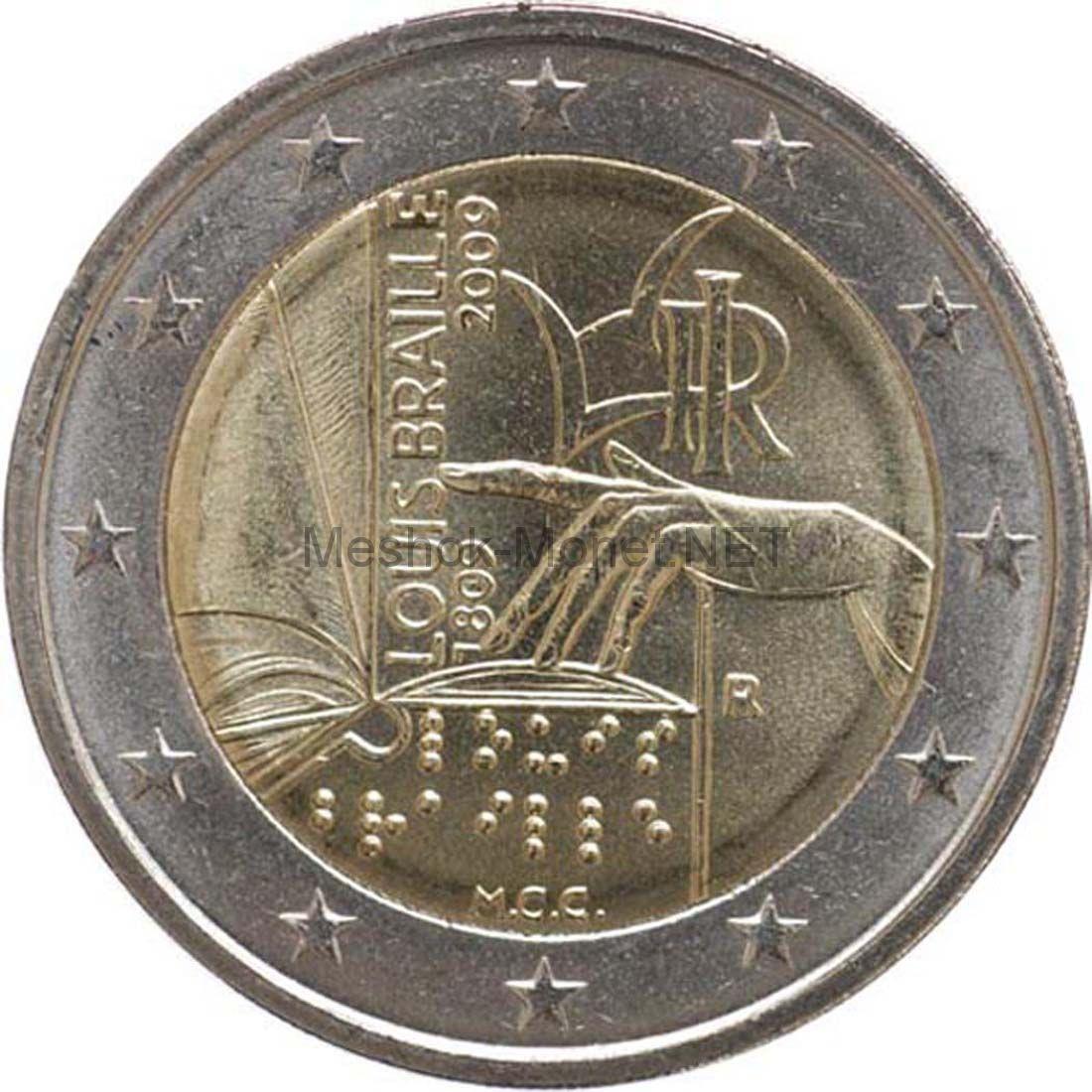 Италия 2 евро 2009, 200 лет со дня рождения Луи Брайля