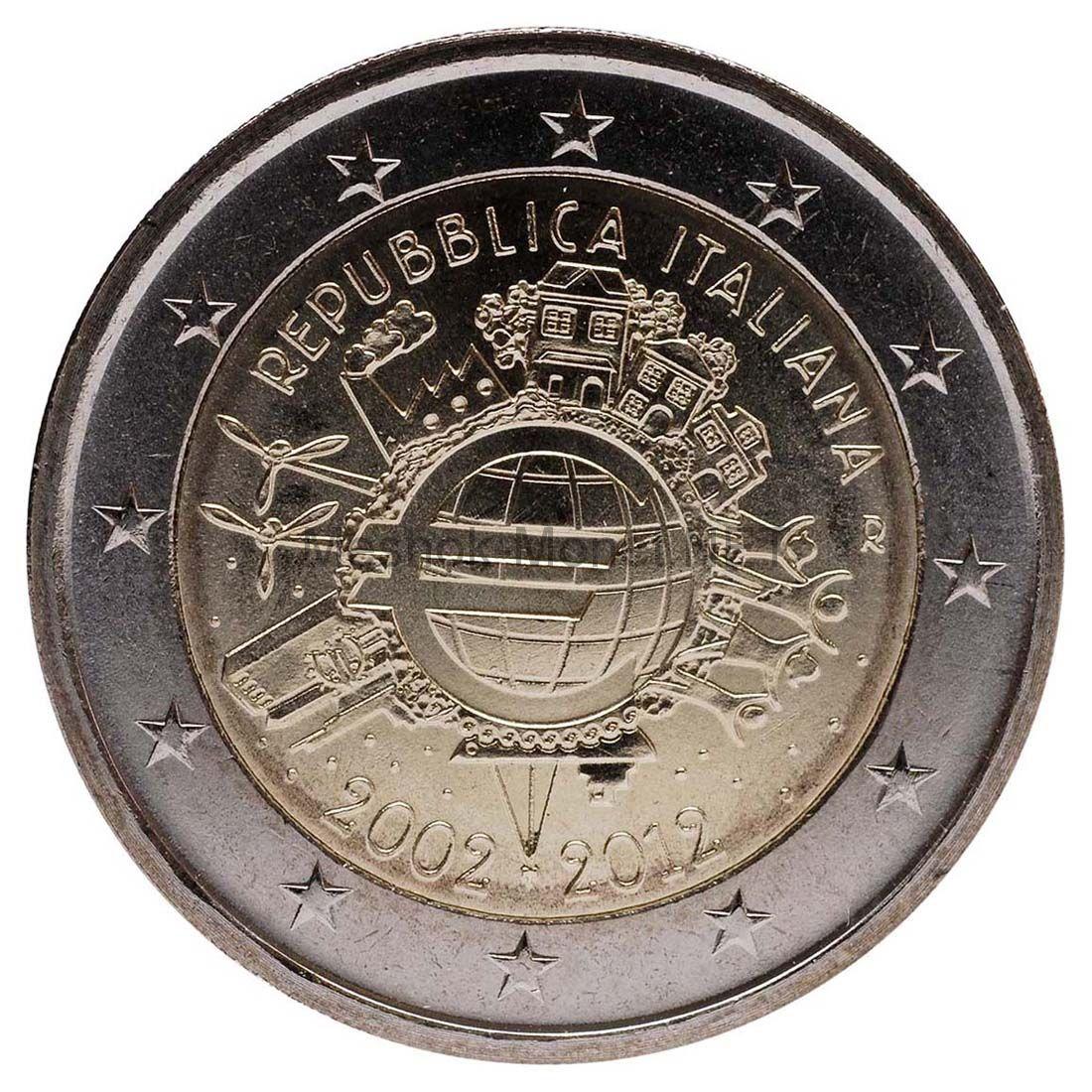 Италия 2 евро 2012, 10 лет наличному обращению евро