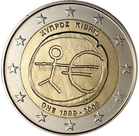 Кипр 2 евро 2009 10 лет экономическому и валютному союзу