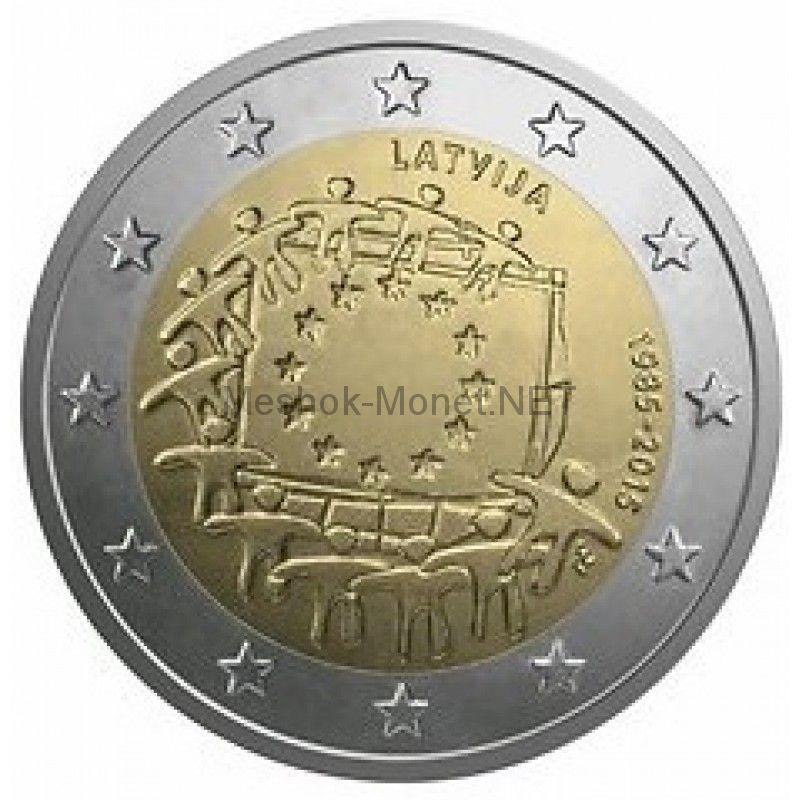 Латвия, 2 евро 2015, 30 лет Флагу Европы