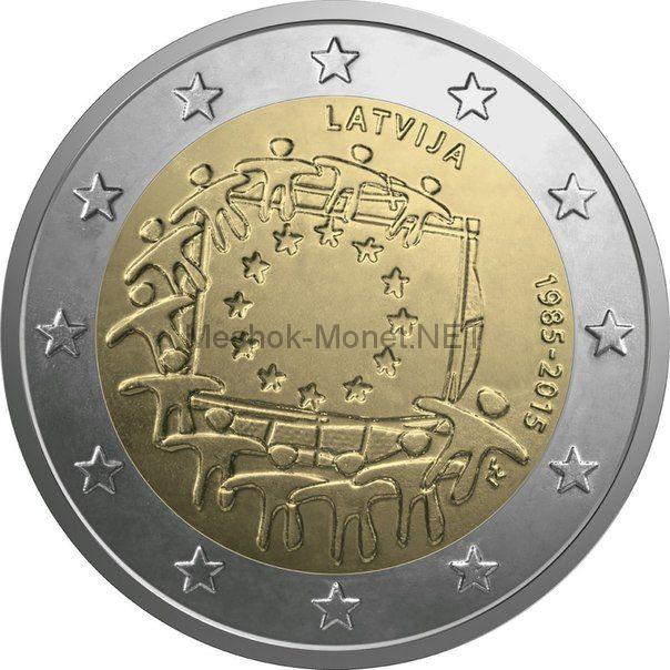 Латвия, 2 евро 2015, 30 лет флагу Европы (Буклет)
