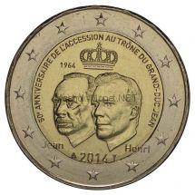 Люксембург 2 евро 2014, 50-летие вступления на трон Великого Герцога Жана
