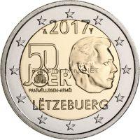 Люксембург, 2 евро 2017, 50-летие добровольной военной службы в Люксембурге