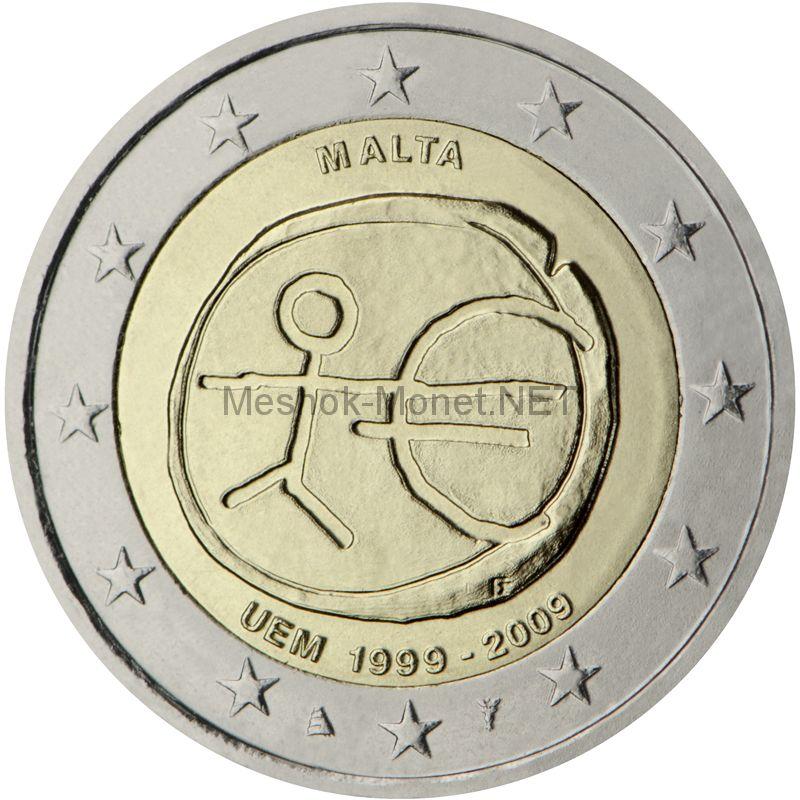 Мальта 2 евро 2009, 10 лет экономическому и валютному союзу
