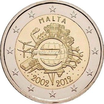Мальта 2 евро 2012, 10 лет наличному обращению евро