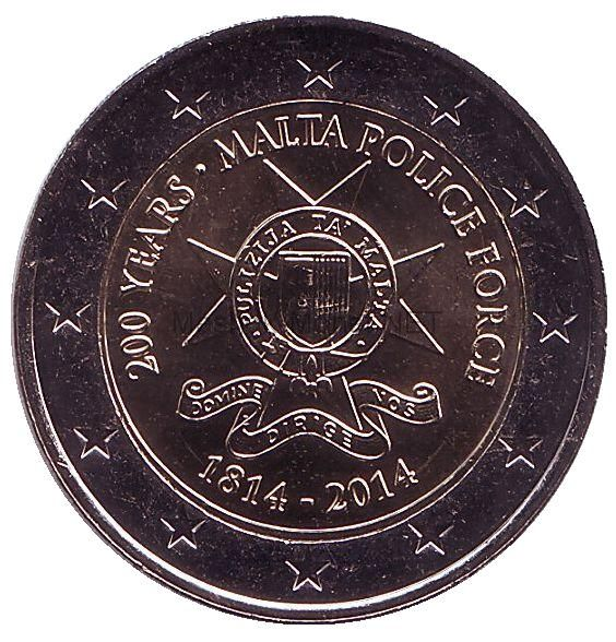 Мальта 2 евро 2014, 200 лет полиции Мальты