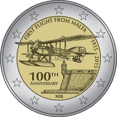 Мальта 2 евро 2015, 100-летие первого авиа полета с Мальты