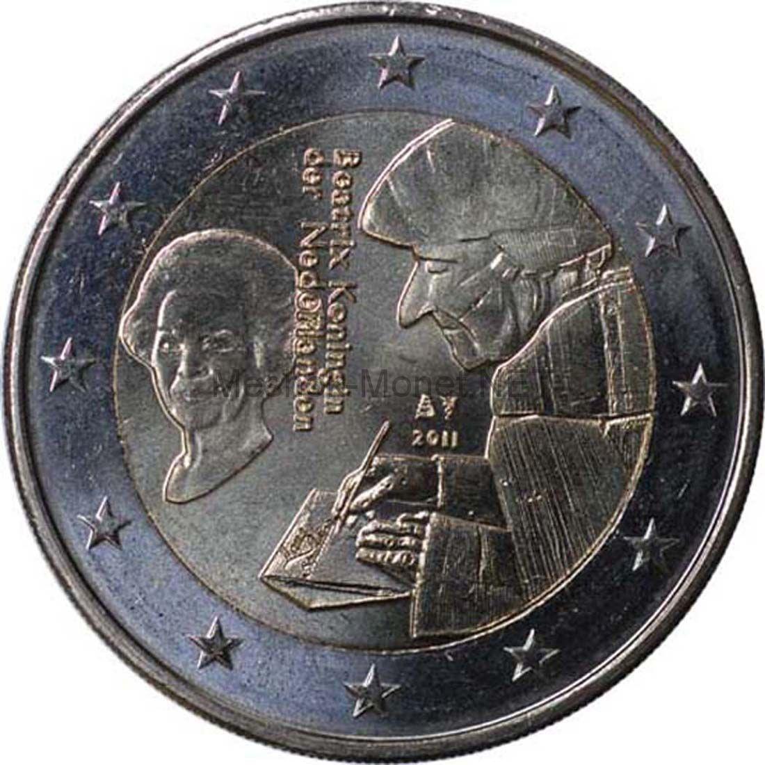 Нидерланды 2 евро 2011, 500 лет издания книги «Похвала глупости» Эразм Роттердамский