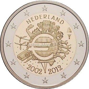 Нидерланды 2 евро 2012, 10 лет наличному обращению евро