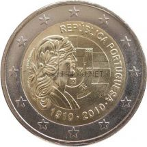 Португалия 2 евро 2010, 100 лет Португальской Республике