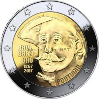 Португалия 2 евро 2017 150 лет со дня рождения писателя Раула Брандана