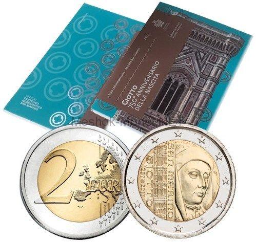 Сан-Марино, 2 евро 2017, 750 лет со дня рождения итальянского художника и архитектора Джотто ди Бондоне