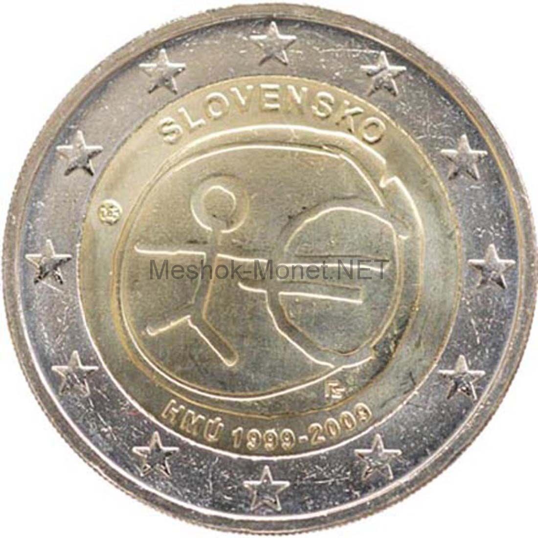 Словакия 2 евро 2009, 10 лет Экономическому и валютному союзу