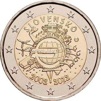 Словакия 2 евро 2012, 10 лет наличному обращению евро