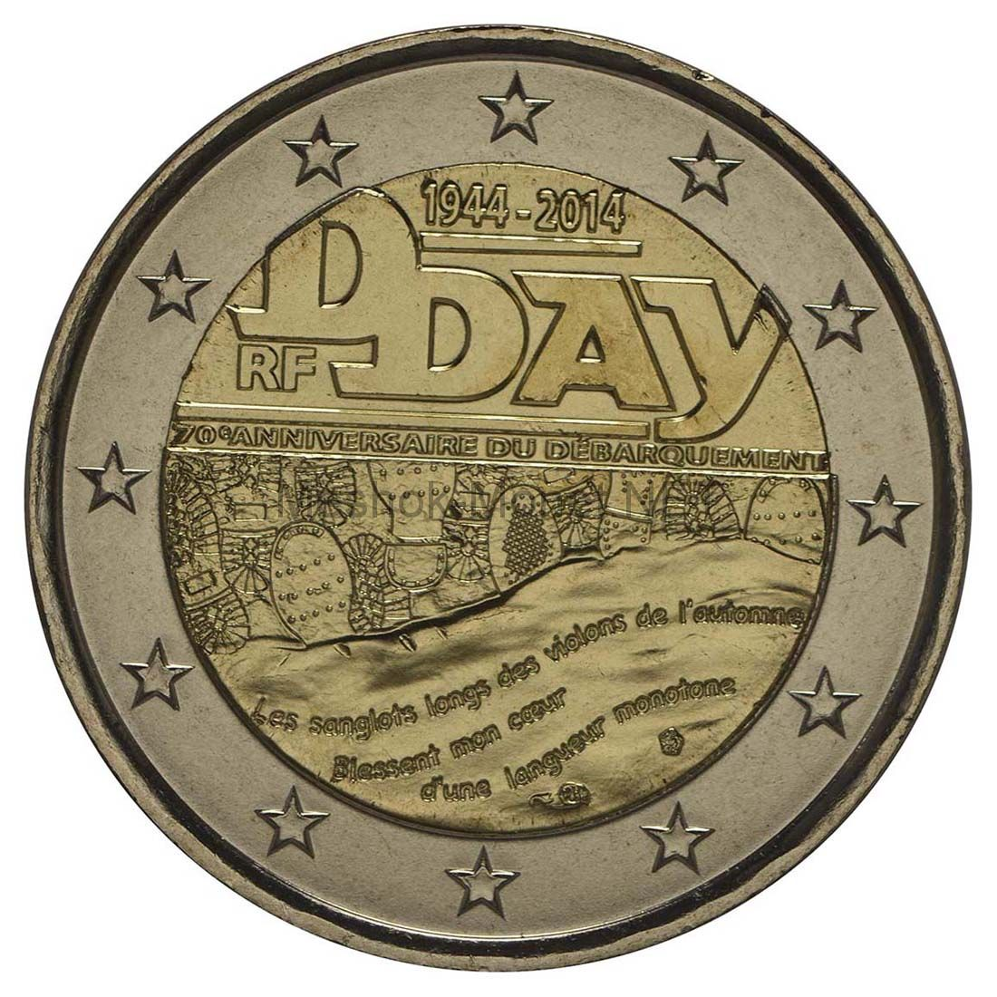 Франция 2 евро 2014, D-DAY - 6 июня 1944 года день начала операции союзных войск по высадке войск в Нормандии