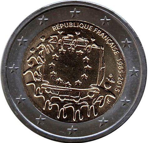 Франция 2 евро 2015 30 лет Флагу Европы