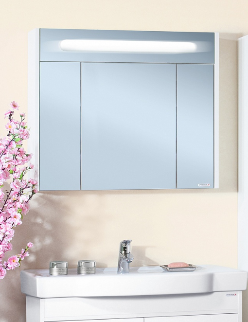 Зеркало-шкаф Бриклаер Палермо 90 белый глянец
