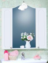 Зеркало с двумя шкафчиками Бриклаер Лючия 85 белый глянец