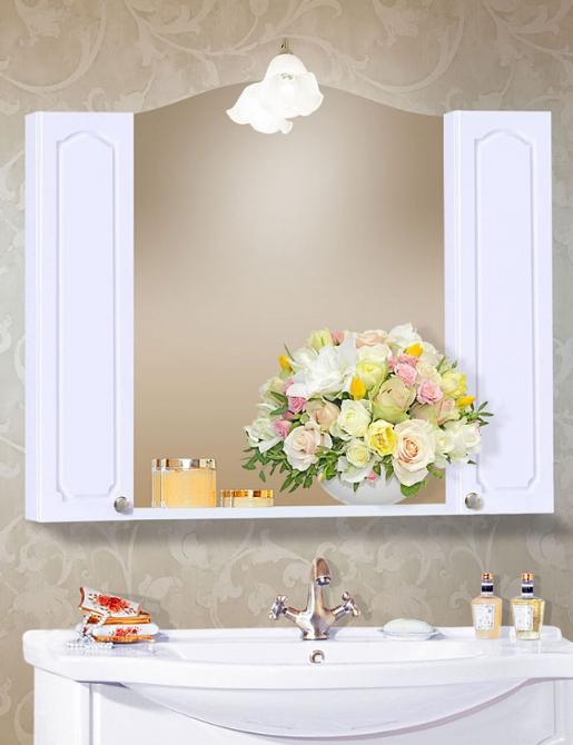 Зеркало с двумя шкафчиками Бриклаер Лючия 98 белый глянец