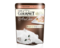 ГУРМЭ ALCTE корм для кошек кусочки в подливе курица/макар пакетик 85г 1/24