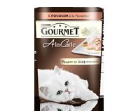 ГУРМЭ ALCTE корм для кошек кусочки в подливе лосось/овощи пакетик 85г 1/24