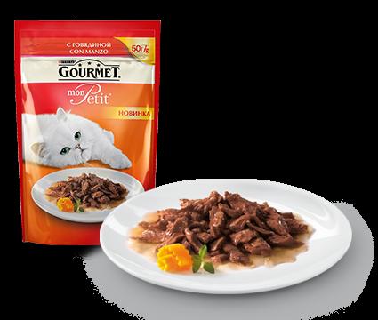 ГУРМЭ MON PETIT корм для кошек кусочки в соусе говядина пакетик 50г 1/30