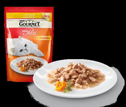 ГУРМЭ MON PETIT корм для кошек кусочки в соусе курица пакетик 50г 1/30
