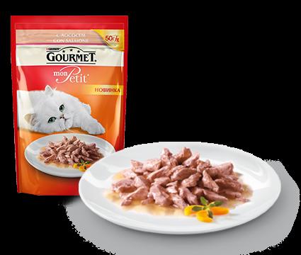 ГУРМЭ MON PETIT корм для кошек кусочки в соусе лосось пакетик 50г 1/30