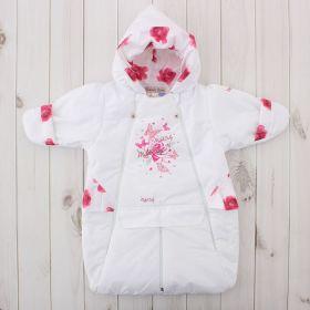 Конверт-трансформер для девочки, рост 62 см, цвет белый/розовый 416т_М