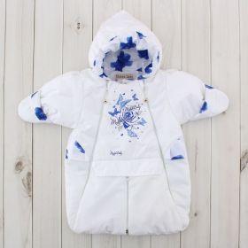 Конверт-трансформер для девочки, рост 62 см, цвет белый, принт синие розы 416т_М