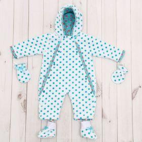 Комбинезон детский с носочками и рукавичками, рост 74 см, цвет белый 40-8501 _М