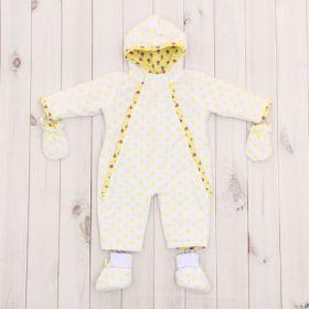 Комбинезон детский с носочками и рукавичками, рост 74 см, цвет лимонный 40-8501 _М