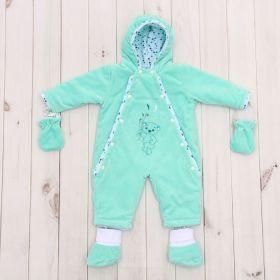 Комбинезон детский с носочками и рукавичками, рост 74 см, цвет ментоловый 40-8501 _М