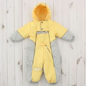 Комбинезон детский, рост 74 см, цвет серый/жёлтый 230т_М