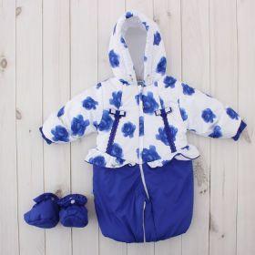 Трансформер для девочки, рост 62 см, цвет синий, принт синие розы 134т_М