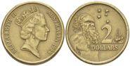 2 доллара 1989 год Австралия «Старейшина аборигенов»