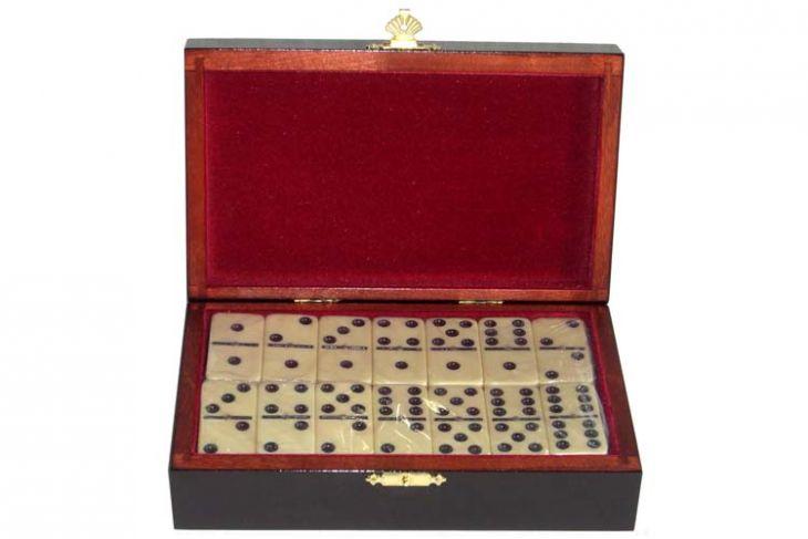 Домино турнирное D6 в деревянной шкатулке с флоком