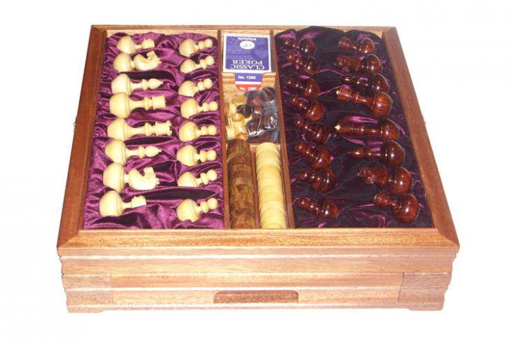 Большой игровой набор из красного дерева: шахматы, шашки, нарды, домино, карты, кости, покерные фишки