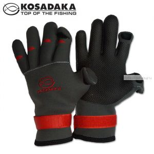 Перчатки неопреновые Kosadaka Sharks Fishing Gloves SK70 / цвет: серый