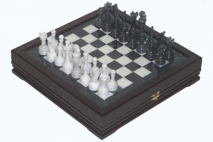 """Шахматы каменные малые изысканные (высота короля 3,10"""")"""