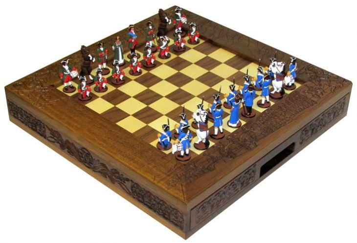 Шахматы исторические эксклюзивные с фигурами из олова покрашенными в полу коллекционном качестве