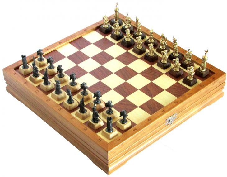 """Шахматы малые """"Крестоносцы"""" чернение"""