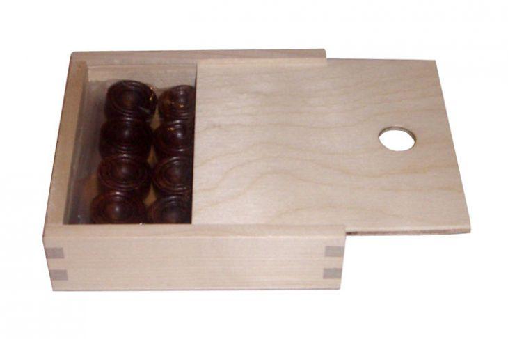 Комплект фишек для игры в нарды в деревянном пенале