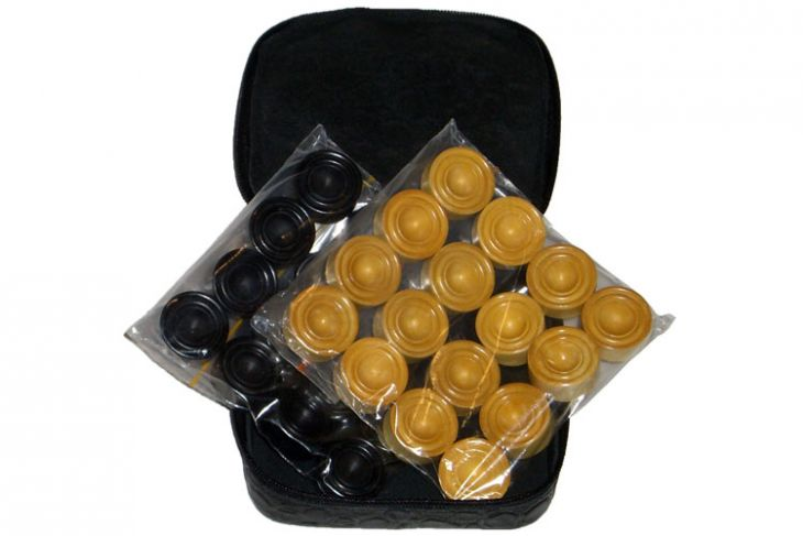Комплект фишек для игры в нарды в кожаном чехле